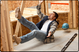 Picture of a man falling on a construction site. Work accident claims are on the increase