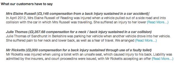Back Injury Testimonials