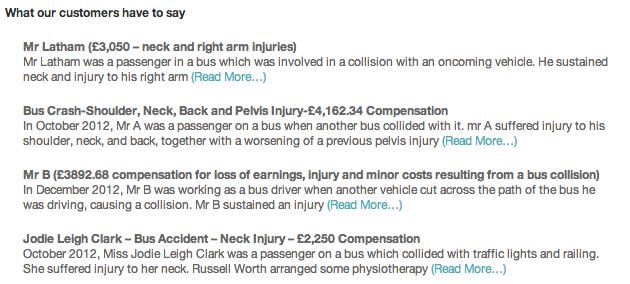 Bus accident testimonials