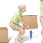 a cartoon of a man lifting a box the correct way