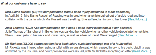 Back Injury Testimonials
